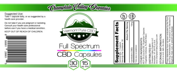 Full Spectrum CBD Oil Capsules 15 mg label