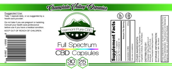 Full Spectrum CBD Oil Capsules 25 mg label