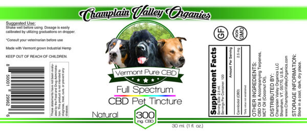 Full Spectrum CBD Pet Tincture label