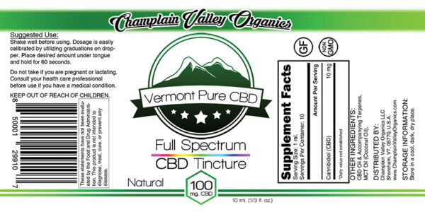 Full Spectrum CBD Tincture 100mg label