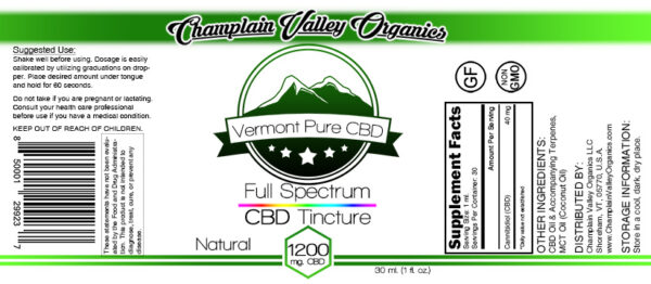 Full Spectrum CBD Tincture 1200mg label