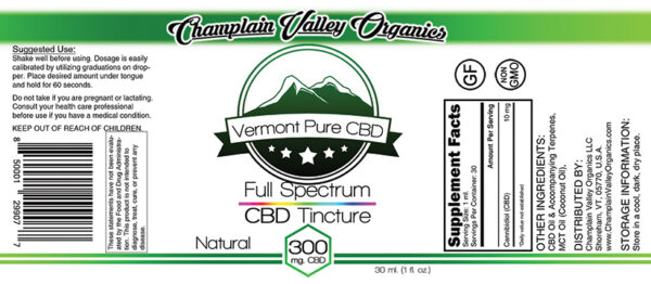 Full Spectrum CBD Tincture 300mg label
