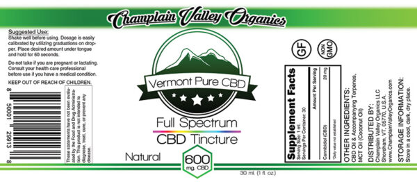Full Spectrum CBD Tincture 600mg label