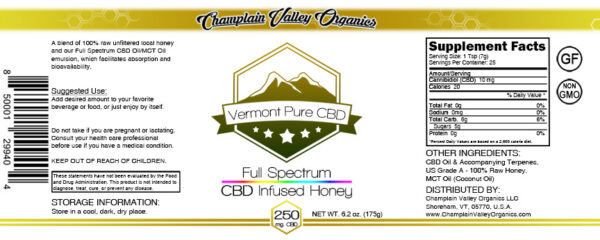 Full Spectrum CBD Infused Honey label