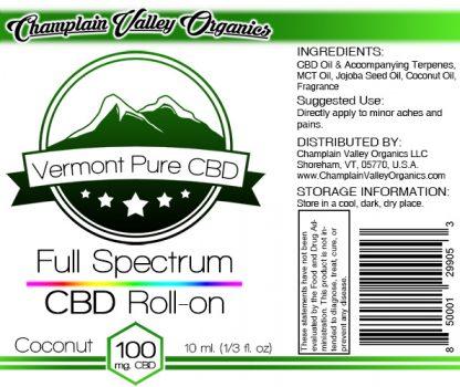 Full Spectrum CBD Oil Roll On label coconut