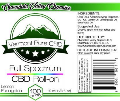 Full Spectrum CBD Oil Roll On label lemon/eucalyptus