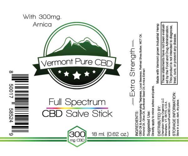 Full Spectrum CBD Salve/Balm Stick Arnica 300mg label