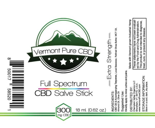 Full Spectrum CBD Salve/Balm Stick 300mg label