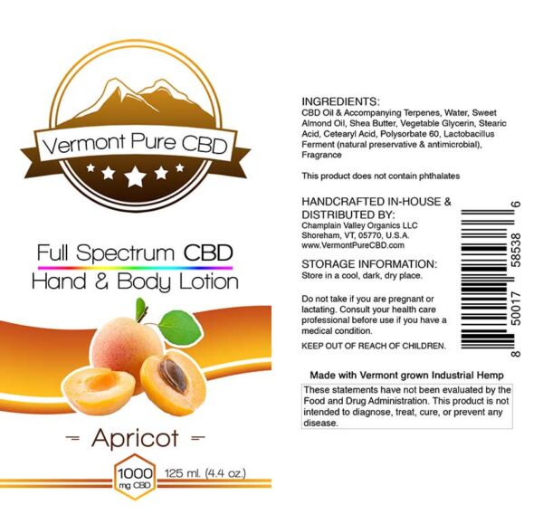 Full Spectrum CBD Lotion – Apricot - 1000mg. Extra Strength