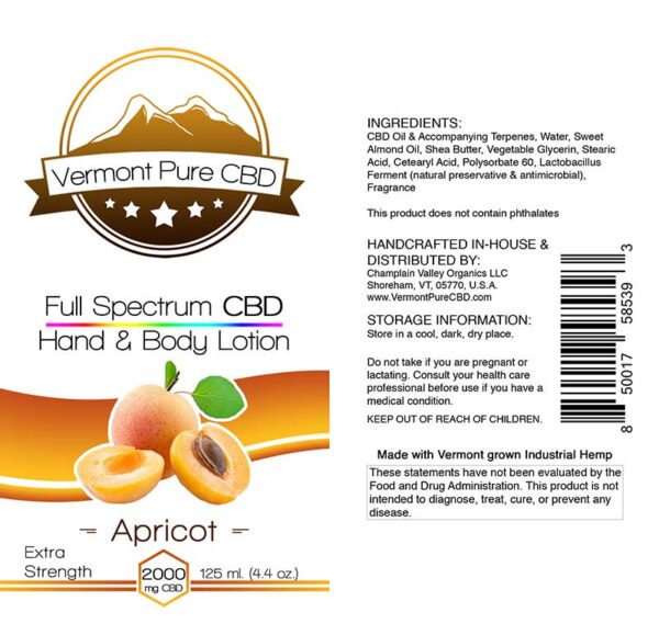 Full Spectrum CBD Lotion – Apricot - 2000mg. Extra Strength