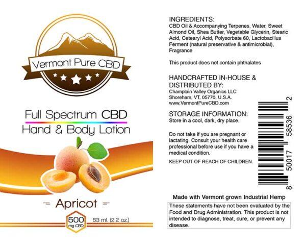 Full Spectrum CBD Lotion – Apricot - 500mg.