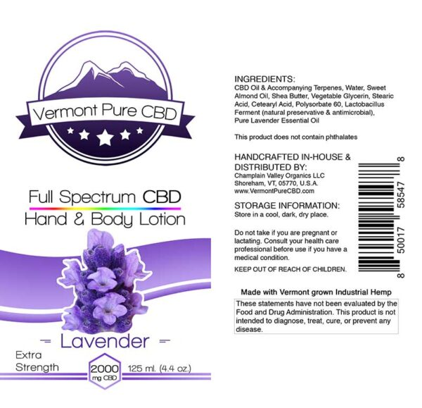 Full Spectrum CBD Lotion – Lavender - 2000mg. Extra Strength