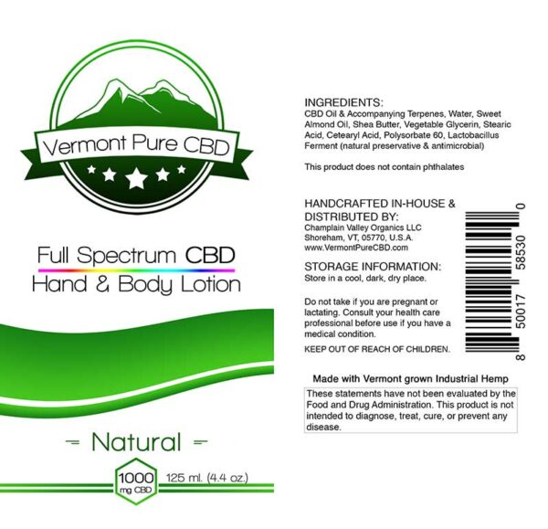 Full Spectrum CBD Lotion – Natural - 1000mg. Extra Strength