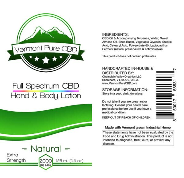 Full Spectrum CBD Lotion – Natural - 2000mg. Extra Strength