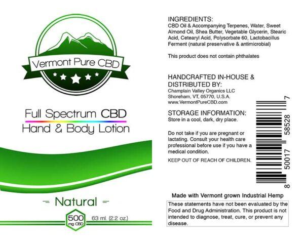 Full Spectrum CBD Lotion – Natural - 500mg.