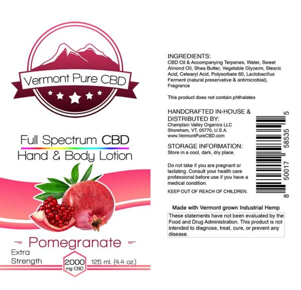 Full Spectrum CBD Lotion – Pomegranate - 2000mg. Extra Strength