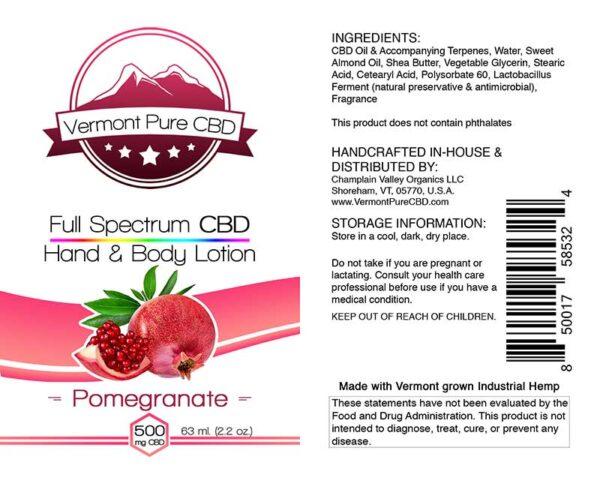 Full Spectrum CBD Lotion – Pomegranate - 500mg.