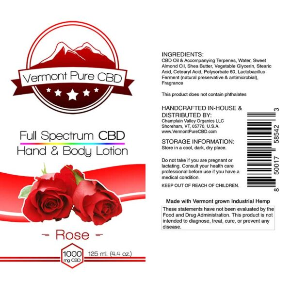 Full Spectrum CBD Lotion – Rose - 1000mg. Extra Strength