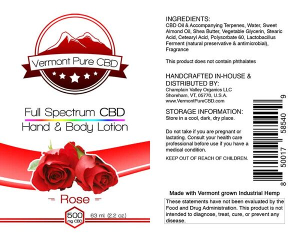 Full Spectrum CBD Lotion – Rose - 500mg.