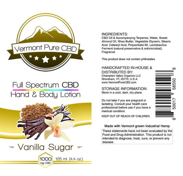 Full Spectrum CBD Lotion – Vanilla - 1000mg. Extra Strength