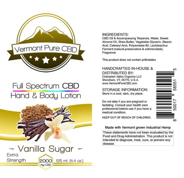 Full Spectrum CBD Lotion – Vanilla - 2000mg. Extra Strength