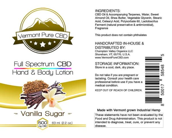 Full Spectrum CBD Lotion – Vanilla - 500mg.